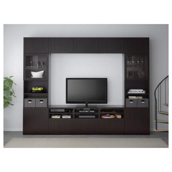 БЕСТО Шкаф для ТВ, комбин/стеклян дверцы, Ханвикен черно-коричневый прозрачное стекло 300x40x230 см - Артикул: 992.820.67