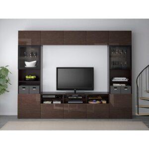 БЕСТО Шкаф для ТВ, комбин/стеклян дверцы черно-коричневый/Сельсвикен глянцевый/коричневый прозрач стекло 300x40x230 см | Артикул: 692.501.95