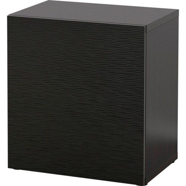 БЕСТО Стеллаж с дверью черно-коричневый/Лаксвикен черный 60x40x64 см - Артикул: 192.444.04