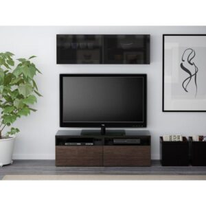 БЕСТО Шкаф для ТВ, комбин/стеклян дверцы черно-коричневый/Сельсвикен глянцевый/коричневый дымчат стекло 120x20/40x166 см | Артикул: 592.504.45