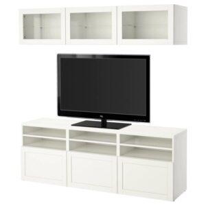 БЕСТО Шкаф для ТВ, комбин/стеклян дверцы, Ханвикен белый прозрачное стекло 180x40x192 см - Артикул: 992.820.53
