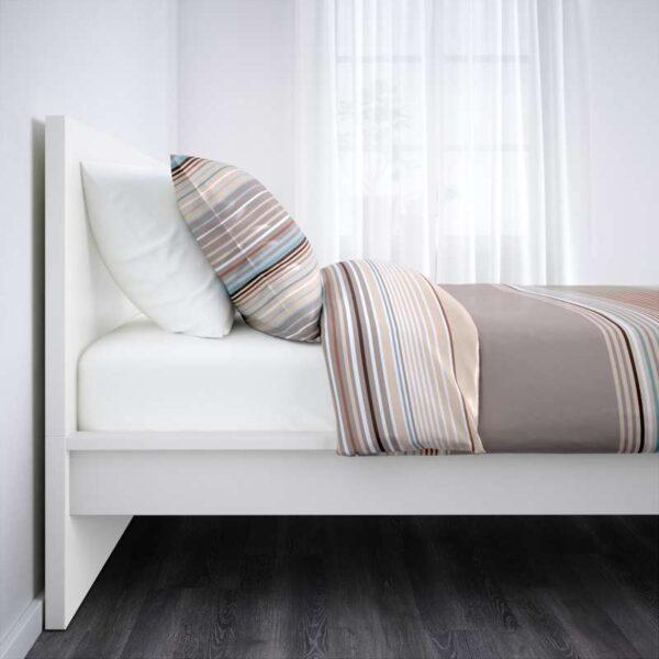 МАЛЬМ Каркас кровати, высокий, белый + ламели Лонсет, 90x200 см. Артикул: 392.109.93