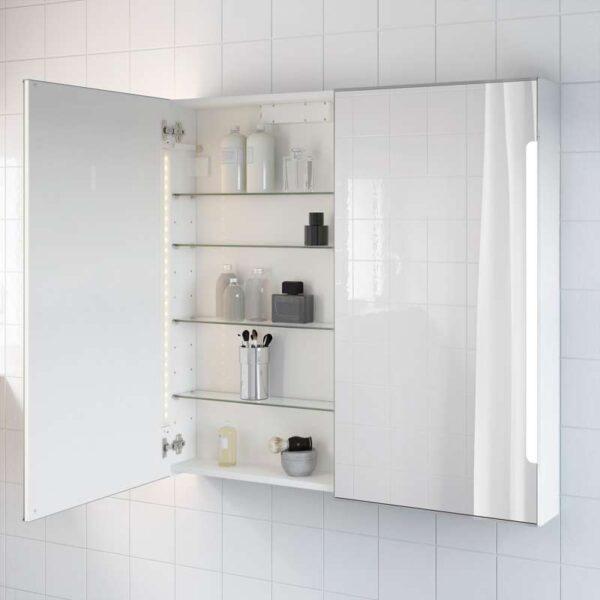 СТОРЙОРМ Зеркальн шкафчик/2дверцы/подсветка белый 100x14x96 см - Артикул: 803.690.70