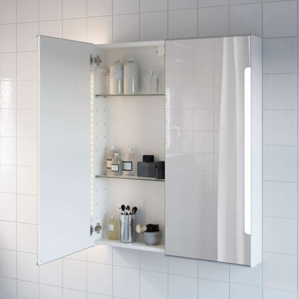 СТОРЙОРМ Зеркальн шкафчик/2дверцы/подсветка белый 80x14x96 см - Артикул: 403.690.72