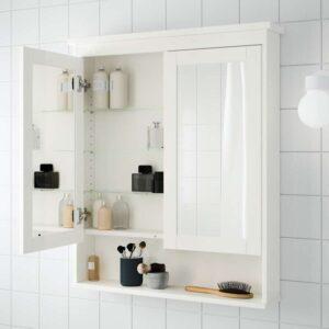 ХЕМНЭС Зеркальный шкаф с 2 дверцами белый 83x16x98 см - Артикул: 103.690.16