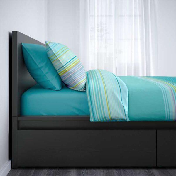 МАЛЬМ Каркас кровати+2 кроватных ящика, черно-коричневый + ламели Леирсунд, 160x200 см. Артикул: 492.109.97