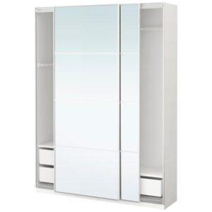 ПАКС Гардероб белый/Аули зеркальное стекло 150x44x201 см - Артикул: 691.282.61