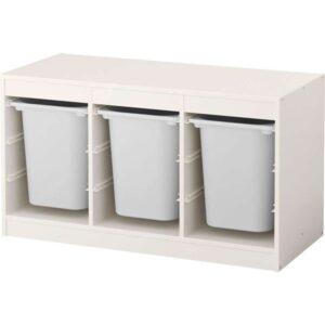 ТРУФАСТ Комбинация д/хранения+контейнерами белый/белый 99x44x56 см - Артикул: 492.221.51