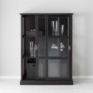 МАЛЬШЁ Шкаф-витрина черная морилка 103x141 см - Артикул: 703.833.78