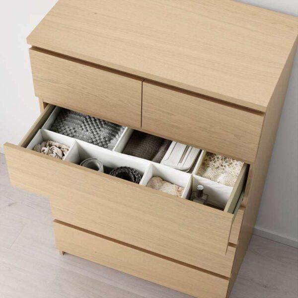 МАЛЬМ Комод с 6 ящиками дубовый шпон, беленый 80x123 см - Артикул: 903.685.98