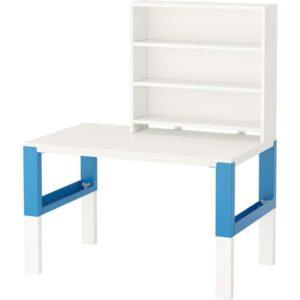 ПОЛЬ Письменн стол с полками белый/синий 96x58 см - Артикул: 192.512.77