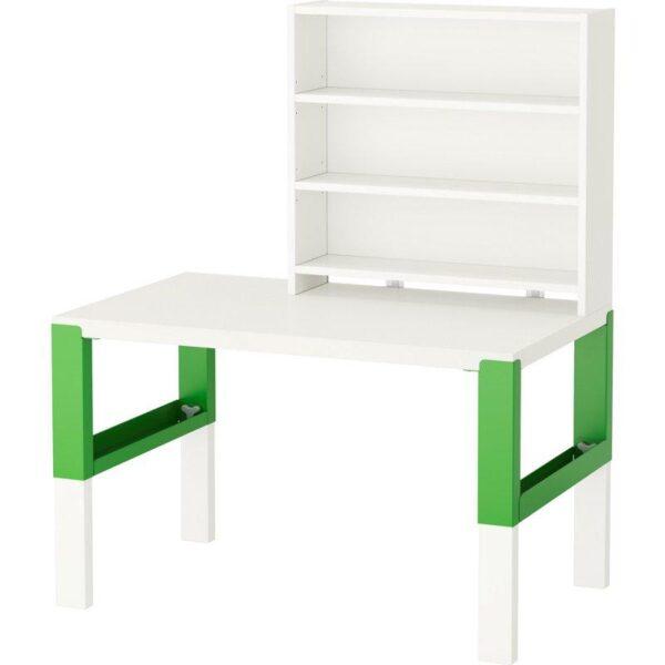 ПОЛЬ Письменн стол с полками белый/зеленый 96x58 см - Артикул: 992.784.14