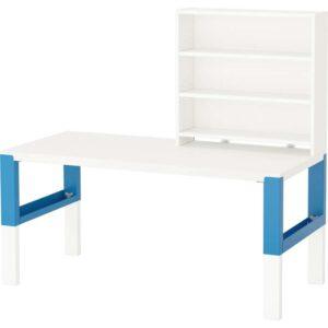ПОЛЬ Письменн стол с полками белый/синий 128x58 см - Артикул: 092.512.73