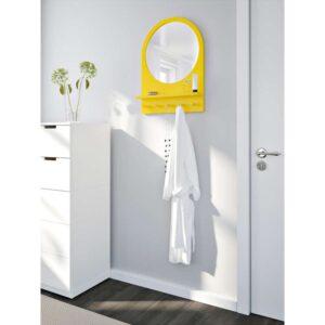САЛТРЁД Зеркало с полкой и крючками желтый 50x68 см - Артикул: 003.692.67