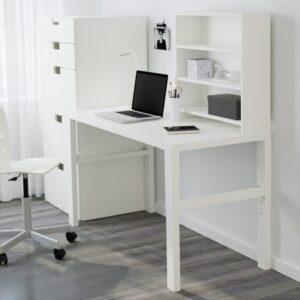 ПОЛЬ Письменн стол с полками белый 128x58 см - Артикул: 392.784.26
