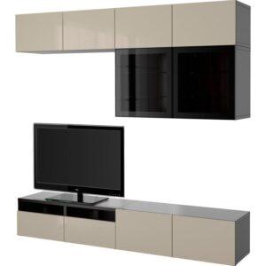 БЕСТО Шкаф для ТВ, комбин/стеклян дверцы черно-коричневый/Сельсвикен глянцевый/бежевый прозрачное стекло 240x40x230 см | Артикул: 692.522.79