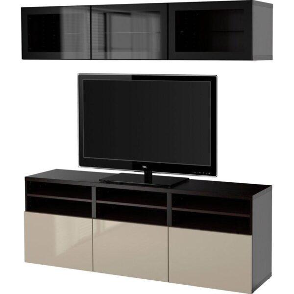 БЕСТО Шкаф для ТВ, комбин/стеклян дверцы черно-коричневый/Сельсвикен глянцевый/бежевый прозрачное стекло 180x40x192 см   Артикул: 792.498.42