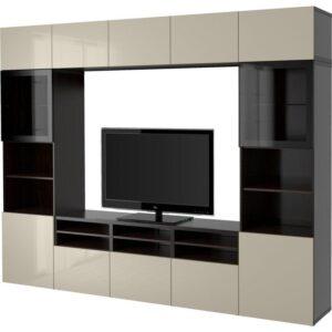 БЕСТО Шкаф для ТВ, комбин/стеклян дверцы черно-коричневый/Сельсвикен глянцевый/бежевый прозрачное стекло 300x40x230 см | Артикул: 592.501.91