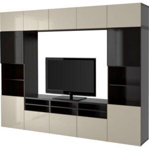 БЕСТО Шкаф для ТВ, комбин/стеклян дверцы черно-коричневый/Сельсвикен глянцевый/бежевый/дымчатое стекло 300x40x230 см | Артикул: 392.501.92