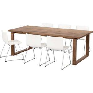 МОРБИЛОНГА / БЕРНГАРД Стол и 6 стульев коричневый/Кават белый 220x100 см - Артикул: 792.296.79