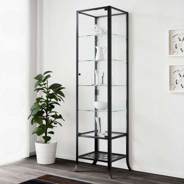 КЛИНГСБУ Шкаф-витрина черный/прозрачное стекло 45x180 см - Артикул: 603.842.22