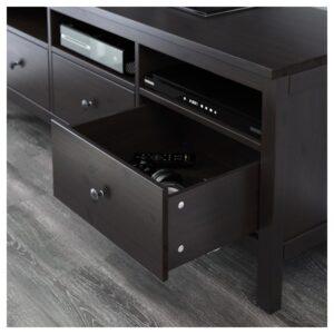 ХЕМНЭС Шкаф для ТВ, комбинация черно-коричневый/прозрачное стекло 326x197 см - Артикул: 092.995.62