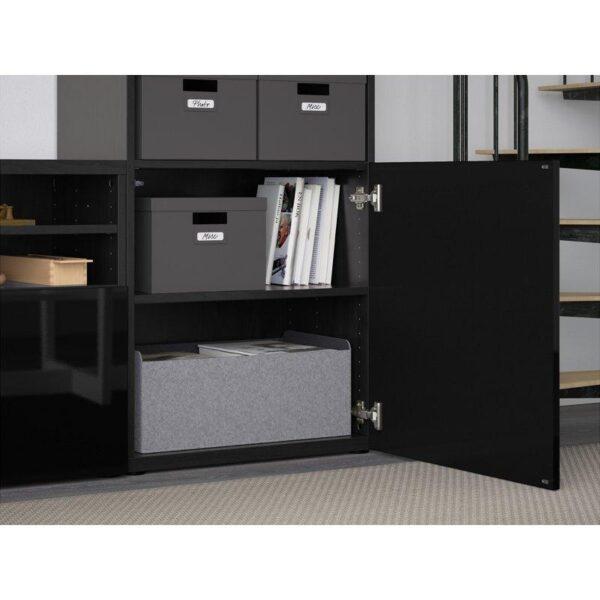 БЕСТО Шкаф для ТВ, комбин/стеклян дверцы черно-коричневый/Сельсвикен глянцевый/черный прозрачное стекло 300x40x230 см   Артикул: 192.501.93