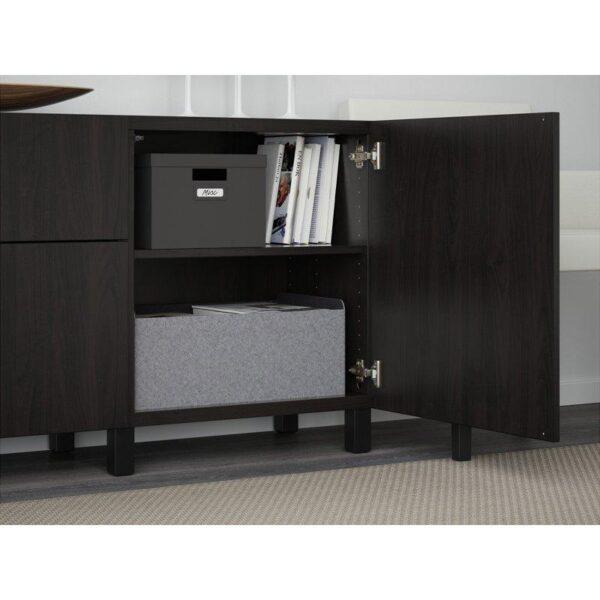 БЕСТО Комбинация для хранения с ящиками Лаппвикен черно-коричневый 180x40x74 см   Артикул: 292.494.20