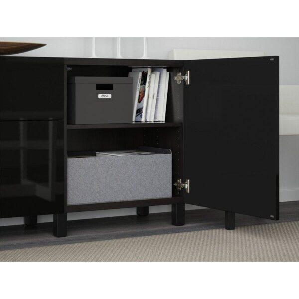 БЕСТО Комбинация для хранения с ящиками черно-коричневый/Сельсвикен глянцевый/черный 180x40x74 см | Артикул: 892.494.17