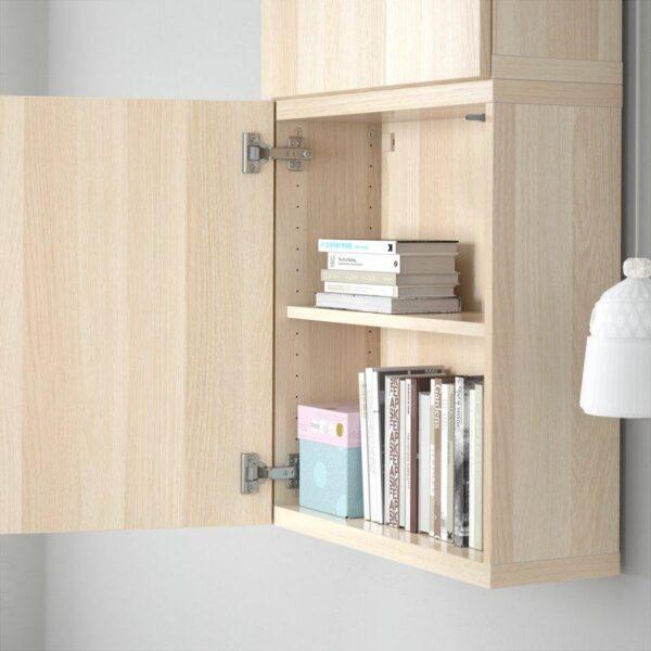 БЕСТО Навесной шкаф с 2 дверями Лаппвикен под беленый дуб 60x20x128 см | Артикул: 592.489.33