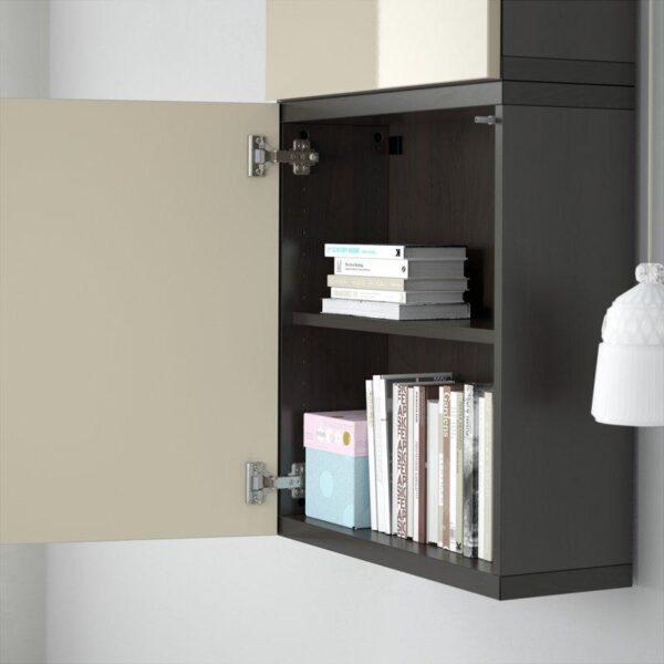 БЕСТО Навесной шкаф с 2 дверями черно-коричневый/Сельсвикен глянцевый/бежевый 60x20x128 см | Артикул: 892.482.72
