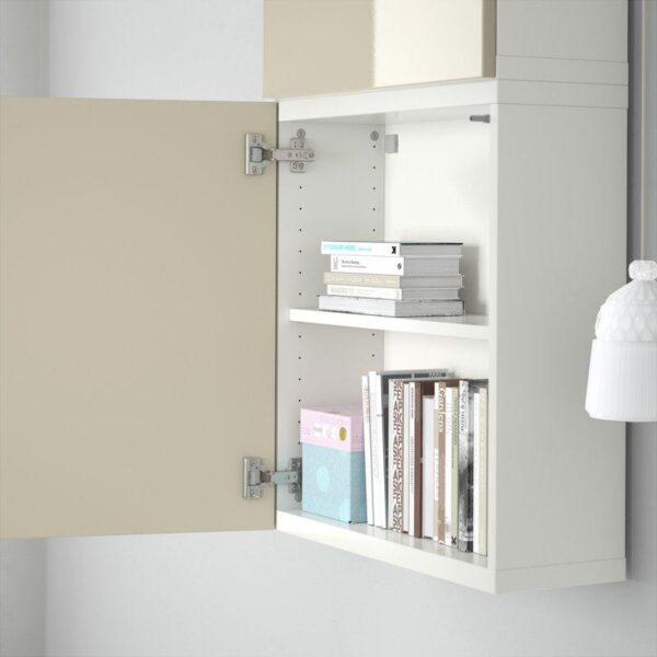 БЕСТО Навесной шкаф с 2 дверями белый/Сельсвикен глянцевый/бежевый 60x20x128 см | Артикул: 192.482.75