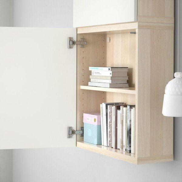 БЕСТО Навесной шкаф с 2 дверями под беленый дуб/Лаппвикен белый 60x20x128 см | Артикул: 792.489.32
