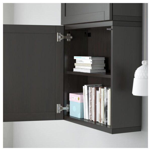 БЕСТО Навесной шкаф с 2 дверями, Ханвикен черно-коричневый 60x20x128 см - Артикул: 190.581.90