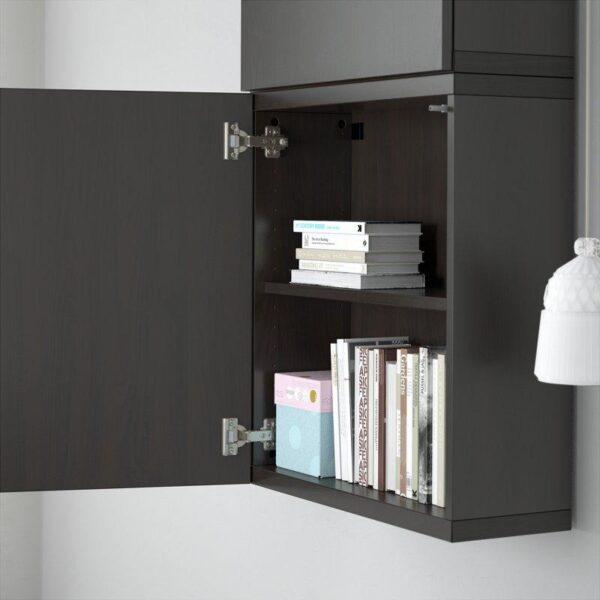 БЕСТО Навесной шкаф с 2 дверями Лаппвикен черно-коричневый 60x20x128 см | Артикул: 992.482.57