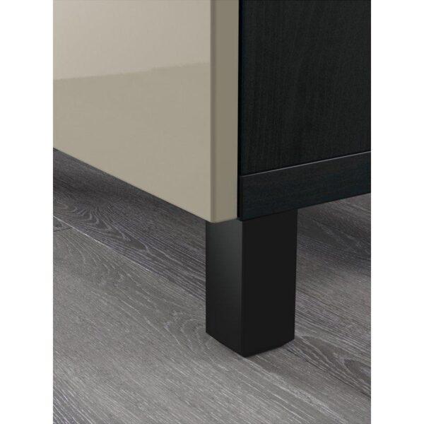 БЕСТО Комбинация для хранения с ящиками черно-коричневый/Сельсвикен глянцевый/бежевый 180x40x74 см | Артикул: 092.494.16