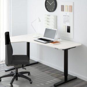 БЕКАНТ Углов письм стол лев/трансф белый/черный 160x110 см - Артикул: 092.786.54