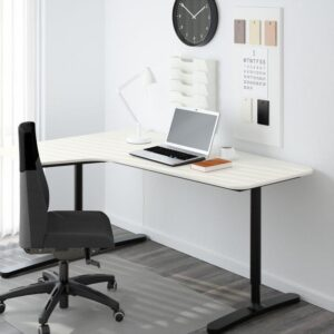 БЕКАНТ Углов письм стол левый белый/черный 160x110 см - Артикул: 692.784.44