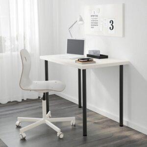 ЛИННМОН / АДИЛЬС Стол белый/черный 100x60 см - Артикул: 692.793.87
