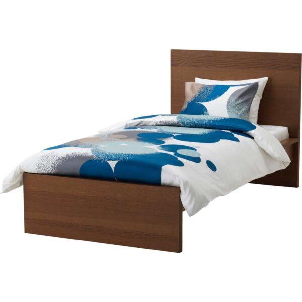 МАЛЬМ Каркас кровати, высокий, коричневая морилка ясеневый шпон + ламели Лурой, 90x200 см. Артикул: 192.109.13