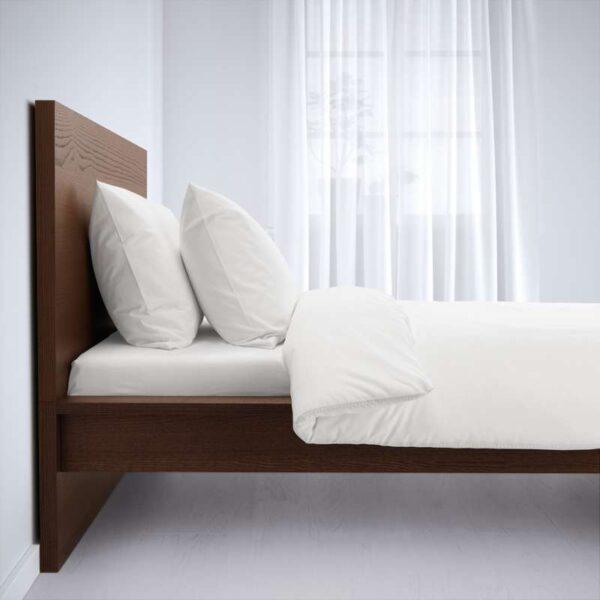 МАЛЬМ Каркас кровати, высокий, коричневая морилка ясеневый шпон 160x200 см. Артикул: 892.109.00