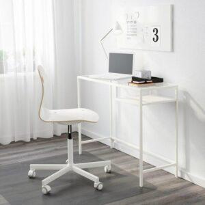 ВИТШЁ Стол д/ноутбука белый/стекло 100x36 см - Артикул: 503.850.19