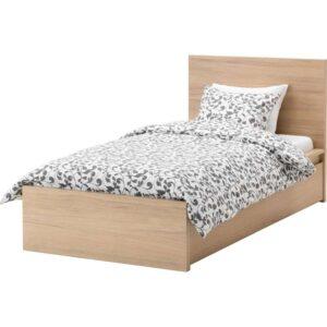 МАЛЬМ Каркас кровати+2 кроватных ящика, дубовый шпон, беленый 90x200 см. Артикул: 492.278.89