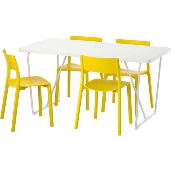 РЮДЕБЭКК/БЭККАРИД / ЯН-ИНГЕ Стол и 4 стула белый/желтый 150 см - Артикул: 592.298.21