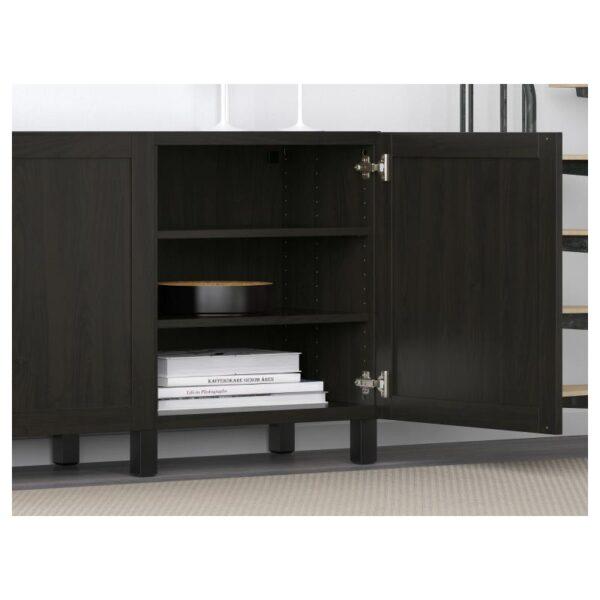 БЕСТО Комбинация для хранения с дверцами, Ханвикен черно-коричневый 180x40x74 см - Артикул: 891.397.39