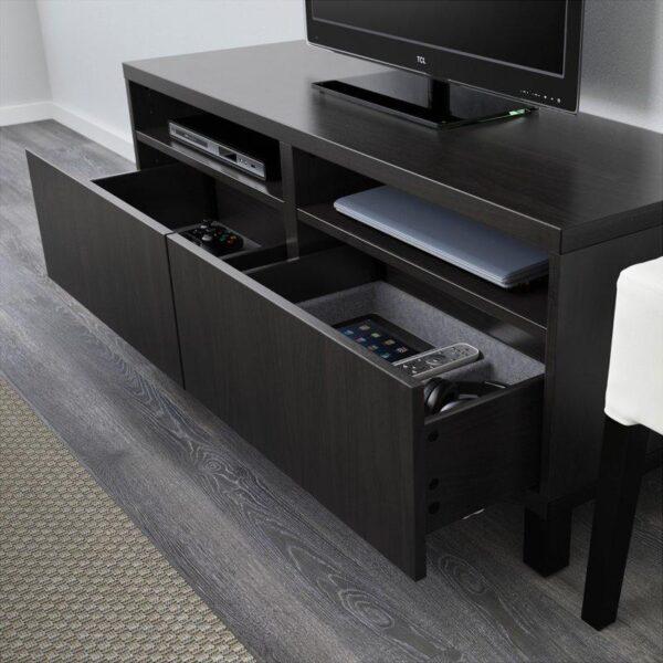 БЕСТО Тумба д/ТВ с ящиками черно-коричневый/Лаппвикен черно-коричневый 120x40x48 см | Артикул: 492.442.66