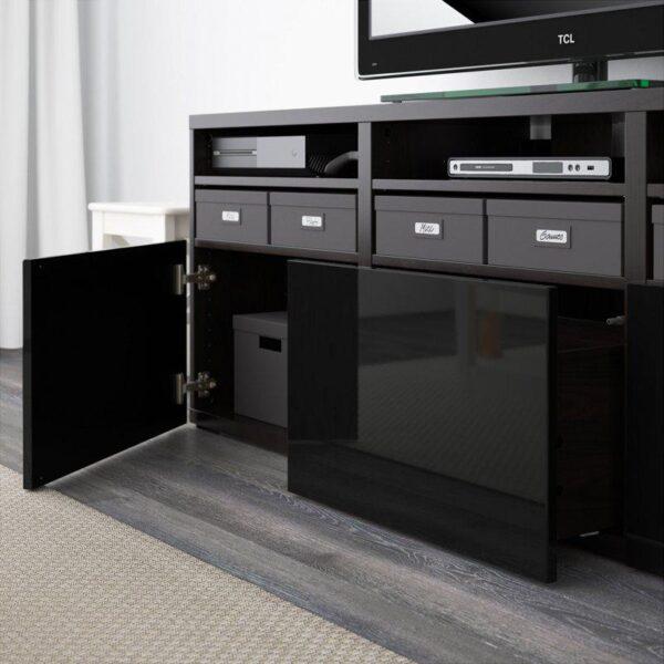 БЕСТО Шкаф для ТВ, комбин/стеклян дверцы черно-коричневый/Сельсвикен глянцевый/черный дымчатое стекло 180x40x192 см | Артикул: 092.498.45