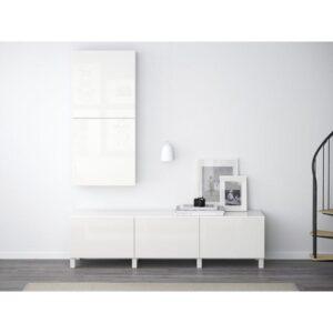 БЕСТО Навесной шкаф с 2 дверями белый/Сельсвикен глянцевый/белый 60x20x128 см | Артикул: 092.482.71