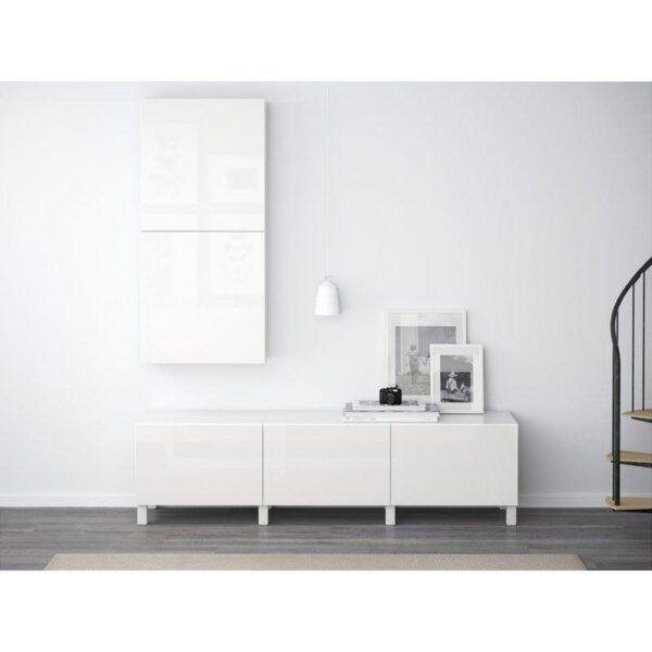 БЕСТО Навесной шкаф с 2 дверями белый/Сельсвикен глянцевый/белый 60x20x128 см   Артикул: 092.482.71