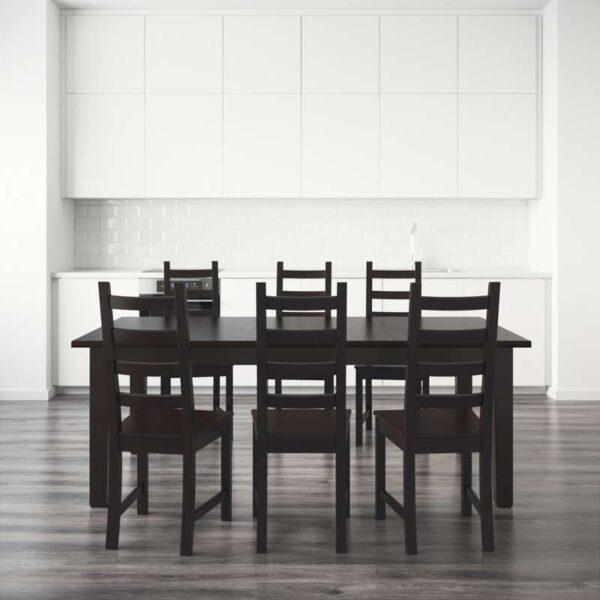 СТУРНЭС / КАУСТБИ Стол и 6 стульев коричнево-чёрный 201 см - Артикул: 692.296.94